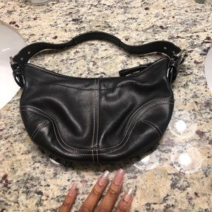 Never worn black leather coach bag! Got as a gift